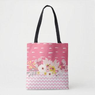 Beautiful Floral Pink White Chevron Pattern Tote Bag