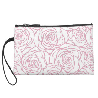 beautiful, floral.pink,white,peonies,girly,feminin suede wristlet