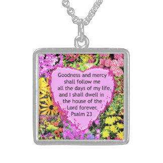 BEAUTIFUL FLORAL PSALM 23 DESIGN STERLING SILVER NECKLACE