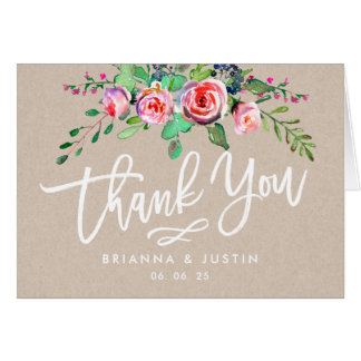 Beautiful Floral Rustic Kraft Wedding Thank You Card