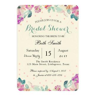 Beautiful Floral Watercolor Bridal Shower Invitati Card