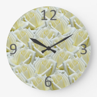 beautiful floral white roses photograph design clocks