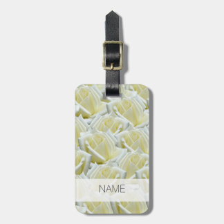 beautiful floral white roses photograph design luggage tag