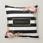 Beautiful Floral Wrap Gold Frame Elegant Stripes Cushion