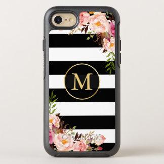 Beautiful Floral Wrap Monogram Black White Stripes OtterBox Symmetry iPhone 7 Case