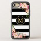 Beautiful Floral Wrap Monogram Black White Stripes OtterBox Symmetry iPhone 8/7 Case