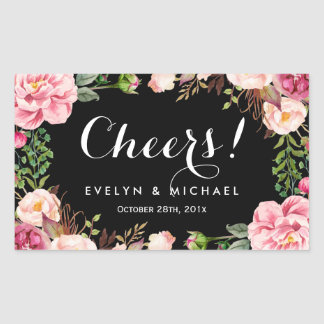 Beautiful Floral Wreath Cheers Wedding Wine Label Rectangular Sticker