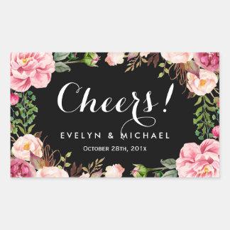 Beautiful Floral Wreath Cheers Wedding Wine Label Rectangular Sticker