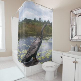 Beautiful Florida Snakebird by Pond Picture Shower Curtain