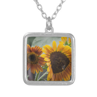 Beautiful Florida Sunflowers Silver Plated Necklace