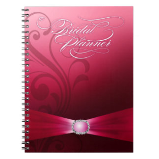 Beautiful Flourish Wedding Planner | hot pink Spiral Note Book