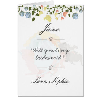 Beautiful flower bridesmaid postcard. card