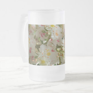 Beautiful Flower Frosted 16 oz Frosted Glass Mug