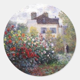Beautiful Flower Garden with Monet Round Sticker