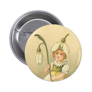 Beautiful Flower Girl Vintage Easter 6 Cm Round Badge