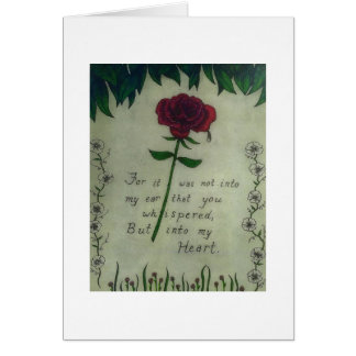 Beautiful flower Red Rose with tear drop and verse Card