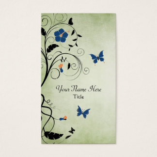 Beautiful Flowers and Butterflies Business Card