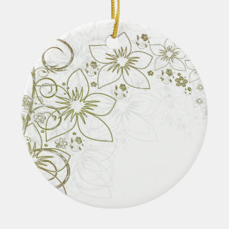 Beautiful Flowers Double-Sided Ceramic Round Christmas Ornament