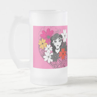 Beautiful Flowers for A Pretty Lady Girly Graphic Frosted Glass Beer Mug