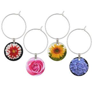 Beautiful Flowers Wine Charm Set