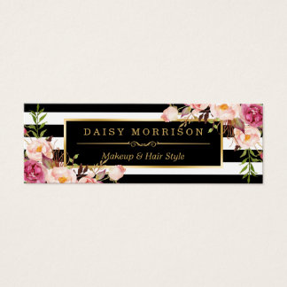 Beautiful Flowers Wrapping Gold B&W Stripes Mini Business Card
