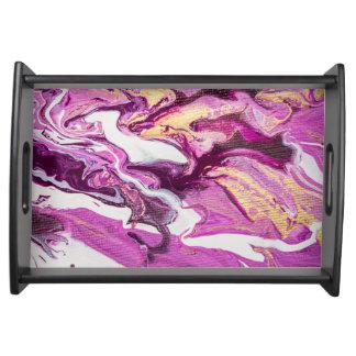 Beautiful Fluid Art Purple Swirls Marbled Abstract Serving Tray