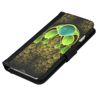 Beautiful Fractal Feathers of the Quetzal Bird iPhone 6 Wallet Case