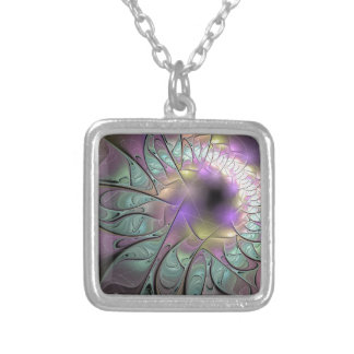 Beautiful fractal silver plated necklace