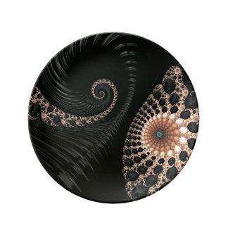 Beautiful Fractal Swirls Art Decor Porcelain Plates