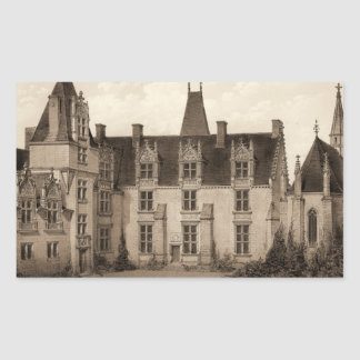 Beautiful French Chateau in Sepia Tones Rectangular Sticker