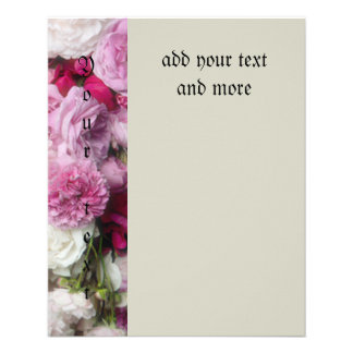 Beautiful,fresh,pink,white,roses,pattern,vivid,fun 11.5 Cm X 14 Cm Flyer