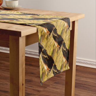 BEAUTIFUL FRIESIAN HORSE STALLION SHORT TABLE RUNNER
