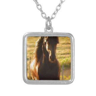 BEAUTIFUL FRIESIAN HORSE STALLION SILVER PLATED NECKLACE