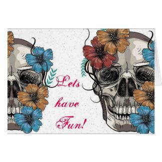 Beautiful funny dead Mexican Women head Skull Card