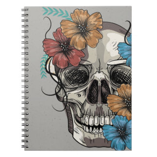Beautiful funny dead Mexican Women head Skull Notebook
