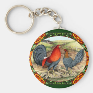 Beautiful Game Fowl Basic Round Button Key Ring