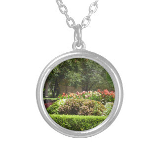 beautiful garden silver plated necklace