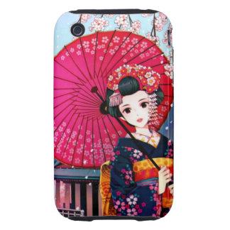Beautiful Geisha in Spring Time iPhone 3 Tough Case