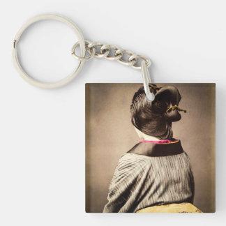 Beautiful Geisha Profile from Back Vintage Japan Key Ring