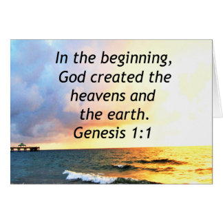 BEAUTIFUL GENESIS 1:1 BIBLE QUOTE DESIGN CARD