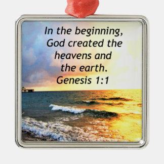 BEAUTIFUL GENESIS 1:1 BIBLE QUOTE DESIGN METAL ORNAMENT