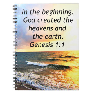 BEAUTIFUL GENESIS 1:1 BIBLE QUOTE DESIGN NOTEBOOKS