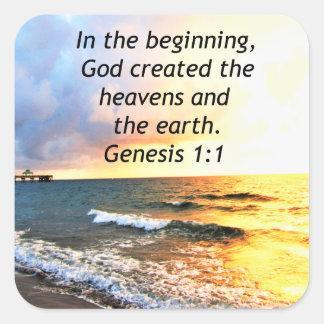 BEAUTIFUL GENESIS 1:1 BIBLE QUOTE DESIGN SQUARE STICKER