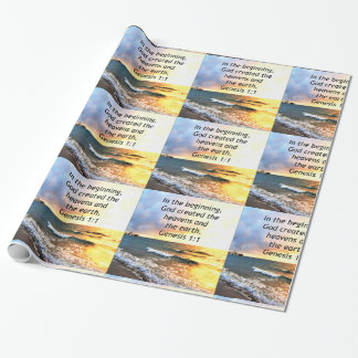 BEAUTIFUL GENESIS 1:1 BIBLE QUOTE DESIGN WRAPPING PAPER