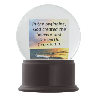 BEAUTIFUL GENESIS 1:1 BIBLE QUOTE SUNRISE PHOTO SNOW GLOBE