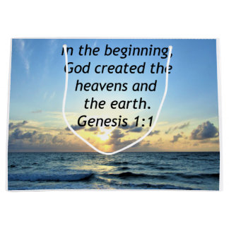 BEAUTIFUL GENESIS 1:1 SUNRISE PHOTO DESIGN LARGE GIFT BAG