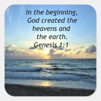 BEAUTIFUL GENESIS 1:1 SUNRISE PHOTO DESIGN SQUARE STICKER