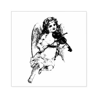 Beautiful Girl Angel playing the Violin Rubber Stamp