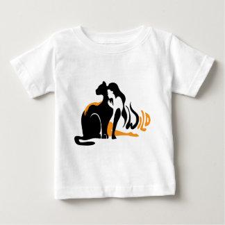Beautiful girl, big black cat Panther illustration Baby T-Shirt