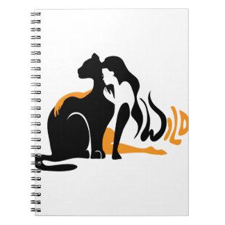 Beautiful girl, big black cat Panther illustration Notebooks